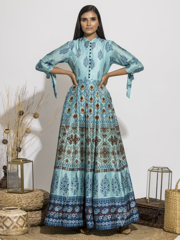 Cyan Blue Silk Printed Anarkali Gown