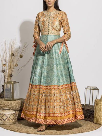 Sage Green Silk Printed Anarkali Gown