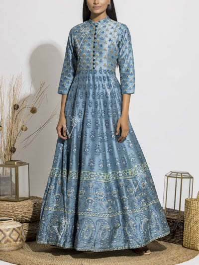Sea Blue Silk Printed Anarkali Gown