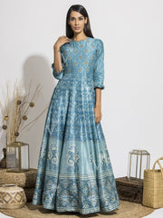 Airforce Blue Handcrafted Silk Printed Anarkali Gown