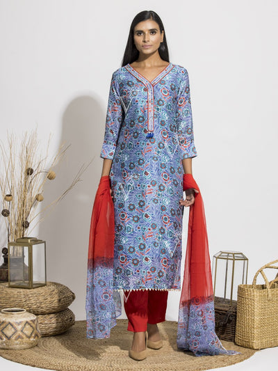 Persian Blue Silk Printed Suit Set