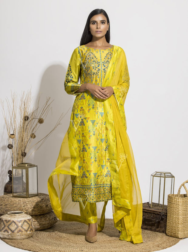 Yellow Silk Printed Suit Set