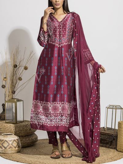 Cranberry Silk Printed Suit Set