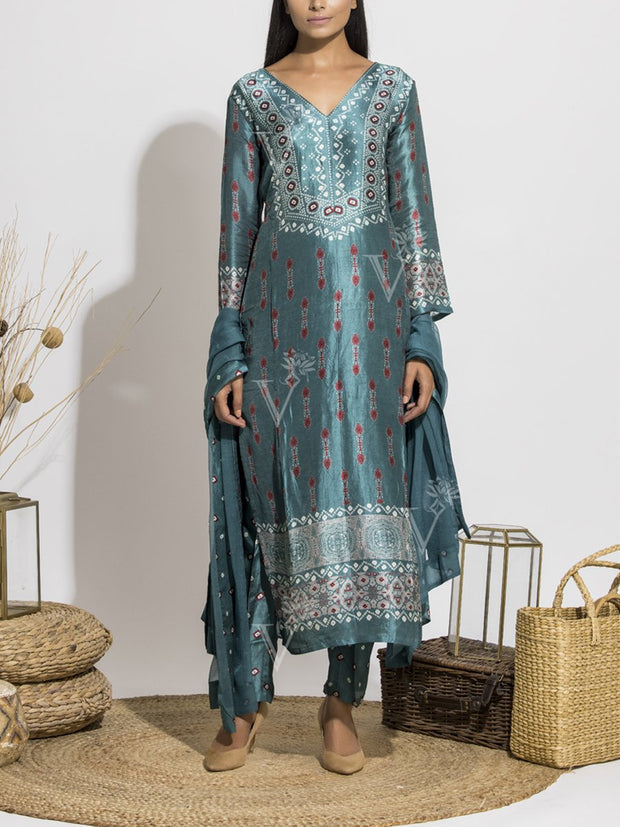 Jade Blue Silk Printed Suit Set