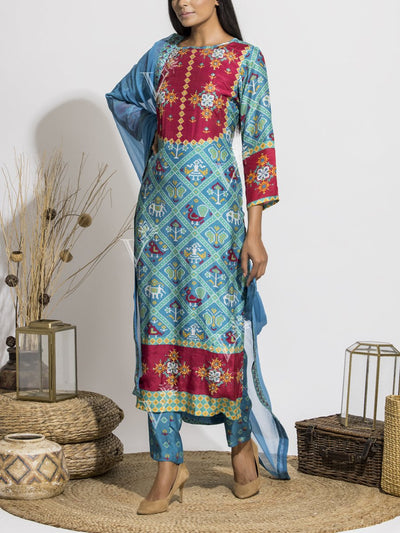 Turkish Blue Silk Patola Printed Suit Set