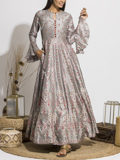 Steel Grey Silk Printed Anarkali Gown