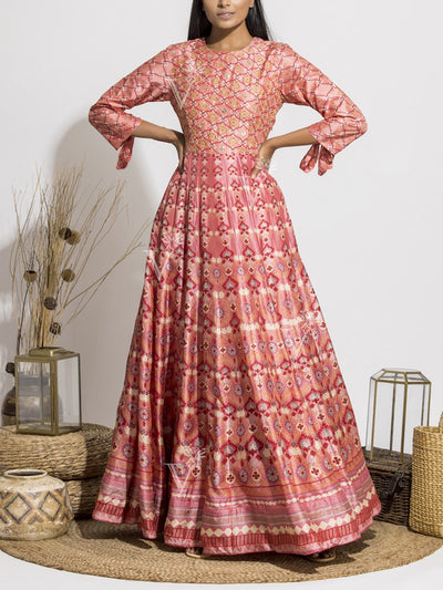 Peach Silk Printed Anarkali Gown