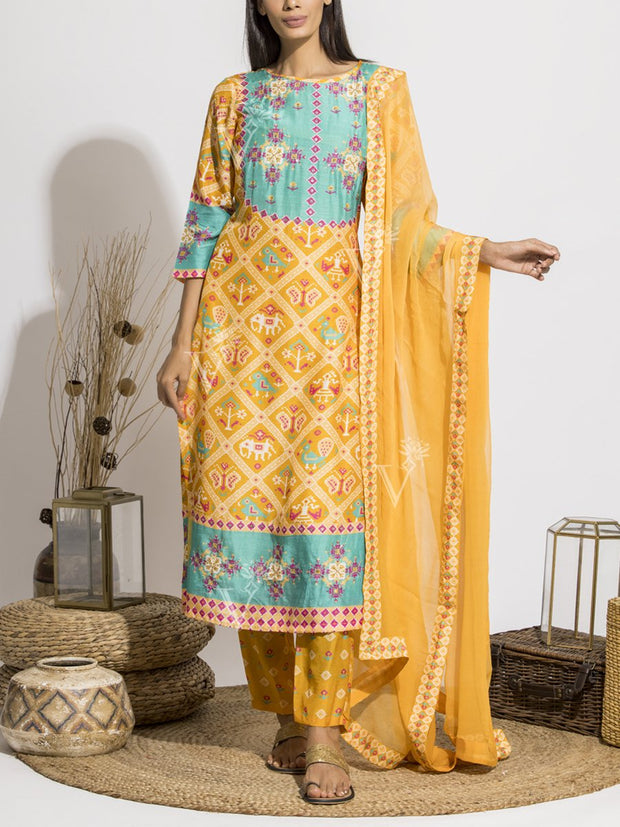 Sun Yellow Patola Printed Suit Set