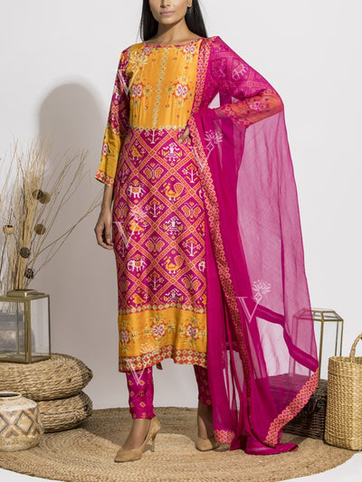Pink Patola Silk Printed Suit Set