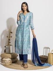 Powder Blue Silk Printed Suit Set