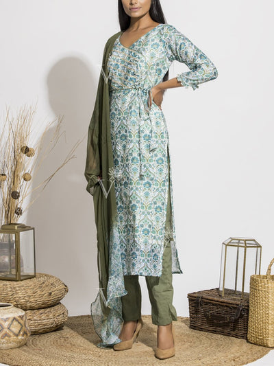 Blue And Olive Silk Printed Suit Set