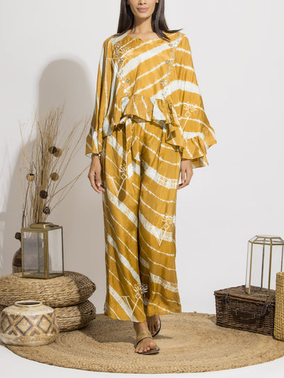 Mustard Leheriya Printed Pant With Handcrafted Asymmetric Top