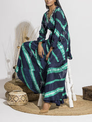 Blue And Aqua Leheriya Printed Sharara With Front Tie-Up Top
