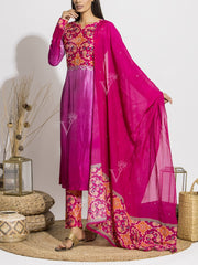 Pink Ombre Patola Printed Suit Set