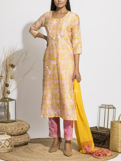 Powder Yellow Silk Printed Suit Set