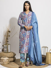 Steel Blue Floral Printed Silk Suit Set