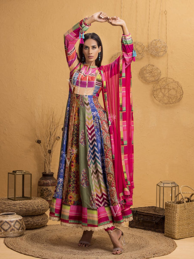 Handcrafted Multi Color Silk Anarkali Gown