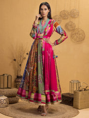 Anarkali, Anarkalis, Gown, Gowns, Party Wear, Multi Color, Traditional Wear, Traditional Outfit, Highlighted, Handwork, Printed