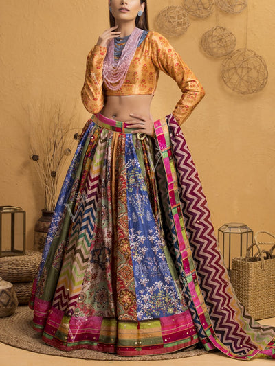 Handcrafted Multi Color Silk Lehenga Set