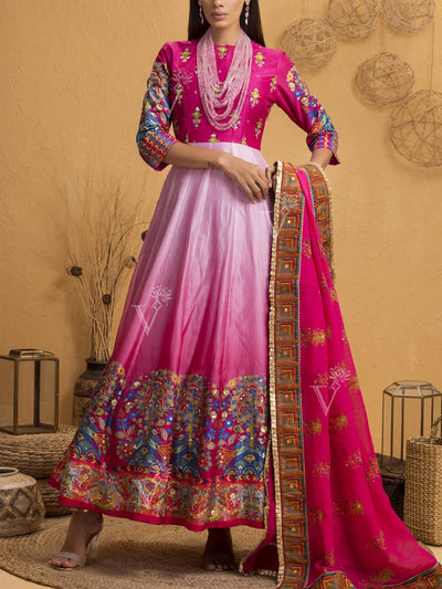 Pink Ombre Silk Anarkali Gown