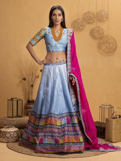 Cyan Blue Silk Printed Lehenga Set