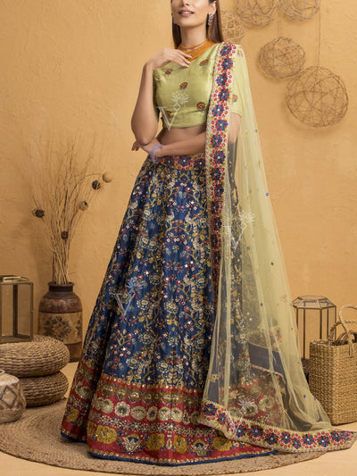 Midnight Blue And Laurel Green Silk Printed Lehenga Set