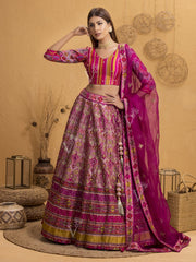 Lehenga, Lehengas, Navratri, Navratra, Traditional Outfit, Traditional Wear, Silk, Printed, Handcrafted, Patola, Ombre, Shaded