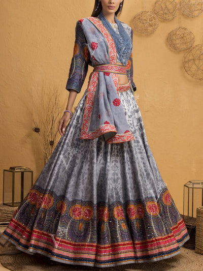 Grey Ombre Silk Printed Lehenga Set