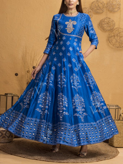 Persian Blue Silk Printed Anarkali Gown