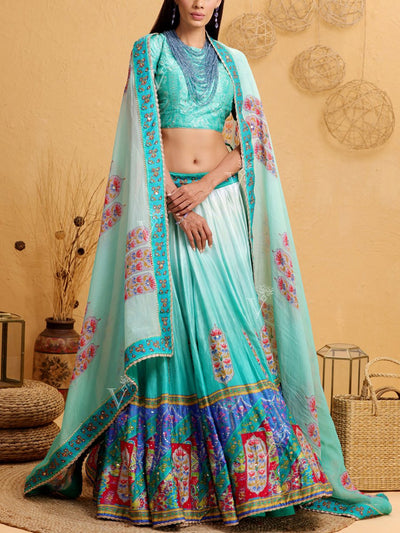 Aqua Blue Silk Printed Lehenga Set