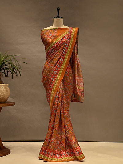 Sarees, Saree, Printed Sarees, Printed Saree, Casual Wear, Daily Wear, Light Wear, Silk Sarees, Prints, Digital Prints, Patola, Patola Prints, Patola Printed  Saree