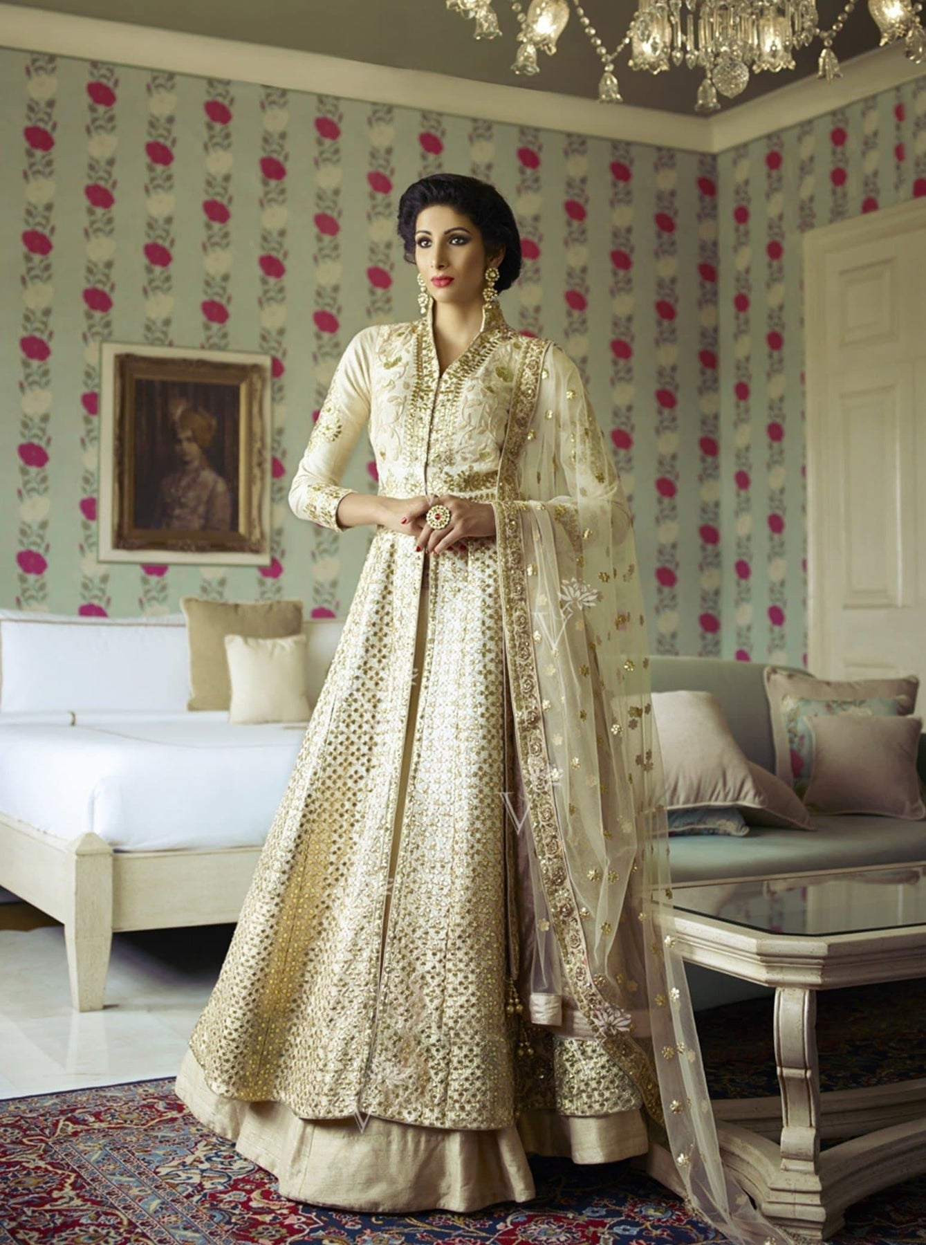Raw Silk Jacket Lehenga with Intricate Gota Patti Work