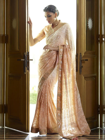 Sarees,Saree, Georgette, Chikankari, Heavy Outfits, Gotta Patti, Bridal Wear