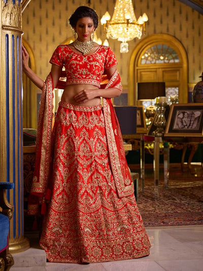 Red Raw Silk Bridal Lehenga Set - 2016