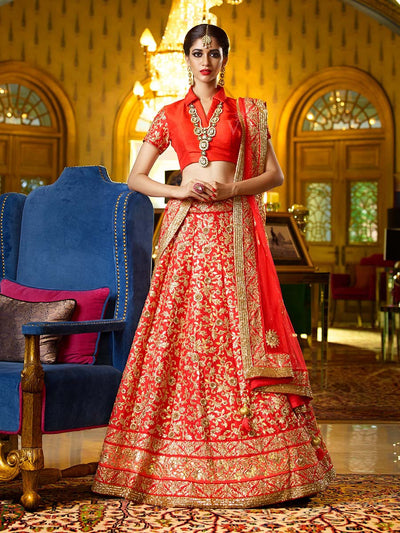 Red Raw Silk Bridal Lehenga - 2016
