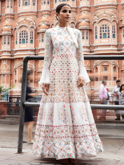 Off White Chanderi Silk Anarkali Gown - 2018