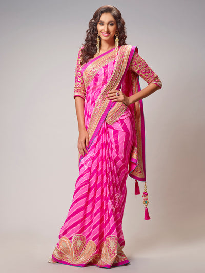 Pink Georgette Leheriya Saree