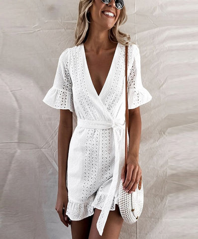 Front View. Clara Hollow Out Playsuit is an elegant summer Playsuit that is made with comofortable material perfect for summer season.