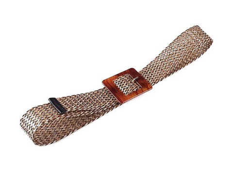 Kara Belt | Bohemian Square Buckle Leopard Braided