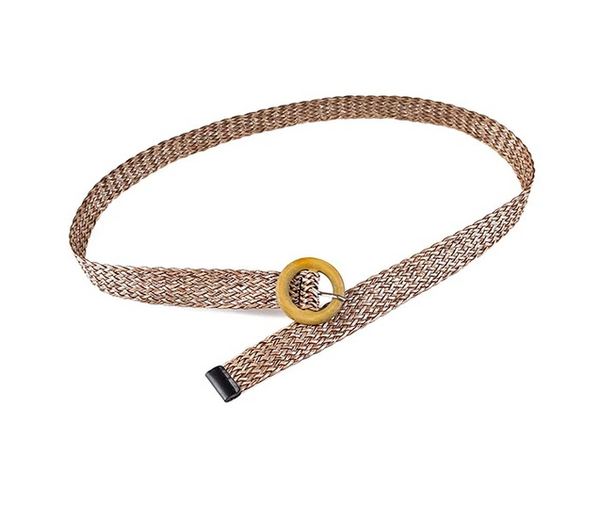 Cameron Belt | Bohemian Square Buckle Leopard Braided