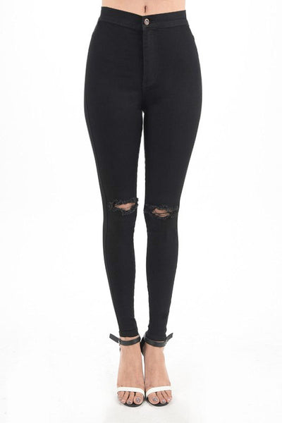 Connie Skinny Jeans | Black Denim Pants Destroyed High Rise Skinny Jeans