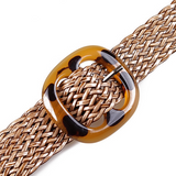 Celine Belt | Bohemian Square Buckle Leopard Braided