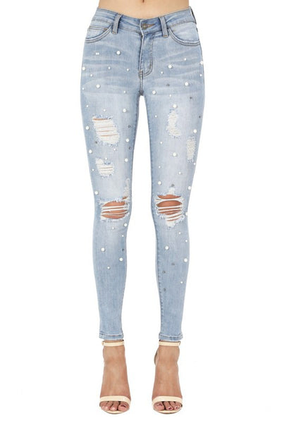 Eliana Jeans | Mid Rise Skinny Jeans With Pearls