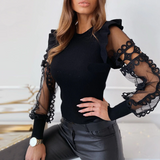 Anna Mesh Lace | Trim Frill Ribbed Blouse Womens Tops and Blouses