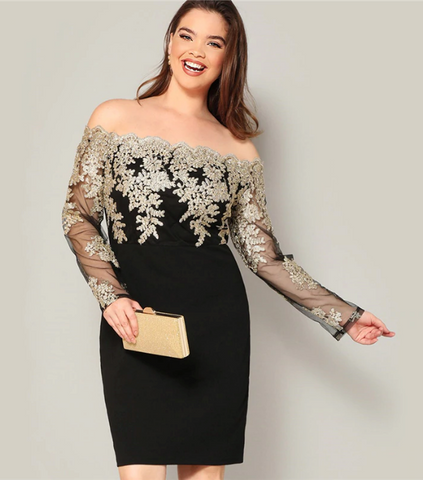 Alexa Dress | Plus Size Black Off the Shoulder Embroidered Mesh Bodice Pencil Party Dress Long Sleeve