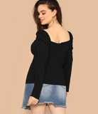 Alexis Blouse | Plus Size Elegant Black Puff Sleeve Form Fitted Sweetheart Long Sleeve