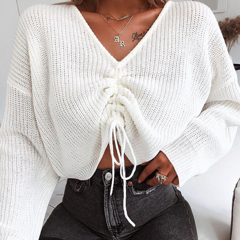 Allie Sweater | Knitted Cropped Sweater Drawstring V Neck Long Sleeve
