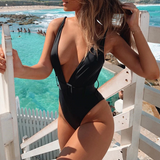 Allyson One-Piece | Snake print push up bikini string V-neck swimsuit one piece swimwear bathing suit Summer beach wear 2019