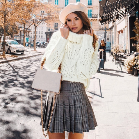 Alondra Sweater | Turtleneck Knitted Pullover Loose Hollow Out