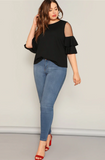 Alyssa Blouse | Black Plus Mesh Panel Layered Bell Sleeve Top Flounce Sleeve Solid Blouse
